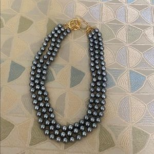 Triple strand gray pearl necklace